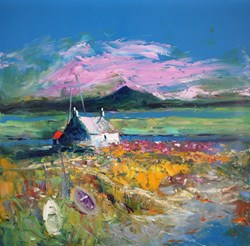 An Evening Gloaming South Uist by John Lowrie Morrison - Original Painting on Stretched Canvas sized 24x24 inches. Available from Whitewall Galleries